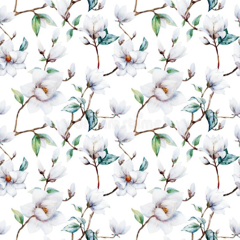 Watercolor raster magnolia pattern royalty free illustration