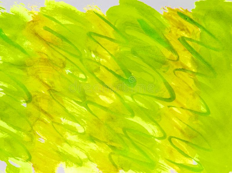 Watercolor raster summer background grass gradient yellow, green with streaks of smooth lines for cover layout and design. Illustration abstraction bright sunny royalty free stock images