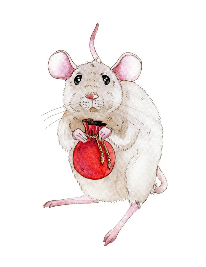Watercolor rat or mouse illustration with small bag full of christmas, new year gifts. Little mouse a simbol of chinese 2020 year vector illustration