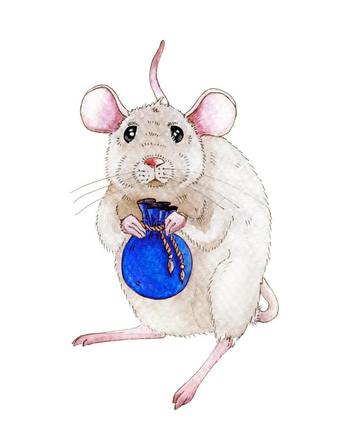 Watercolor rat or mouse illustration with small blue bag full of christmas gifts Cute little mouse simbol of chinese 2020 new year vector illustration