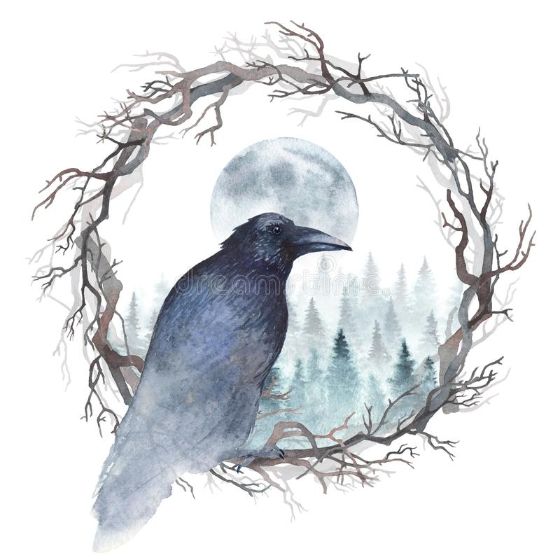 Free Watercolor Raven On A Wreath Royalty Free Stock Photo - 106691525