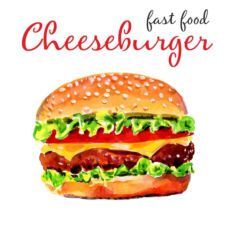 Watercolor Realistic American Cheeseburger. Fast Food vector illustration