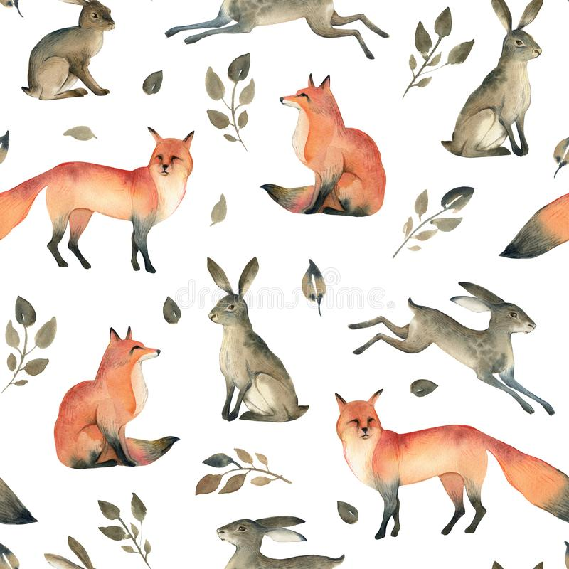 Watercolor realistic forest animal sketch. Seamles pattern about fox, hare and leaves. Watercolor illustration of wild fox, hare and leaves on white background royalty free illustration