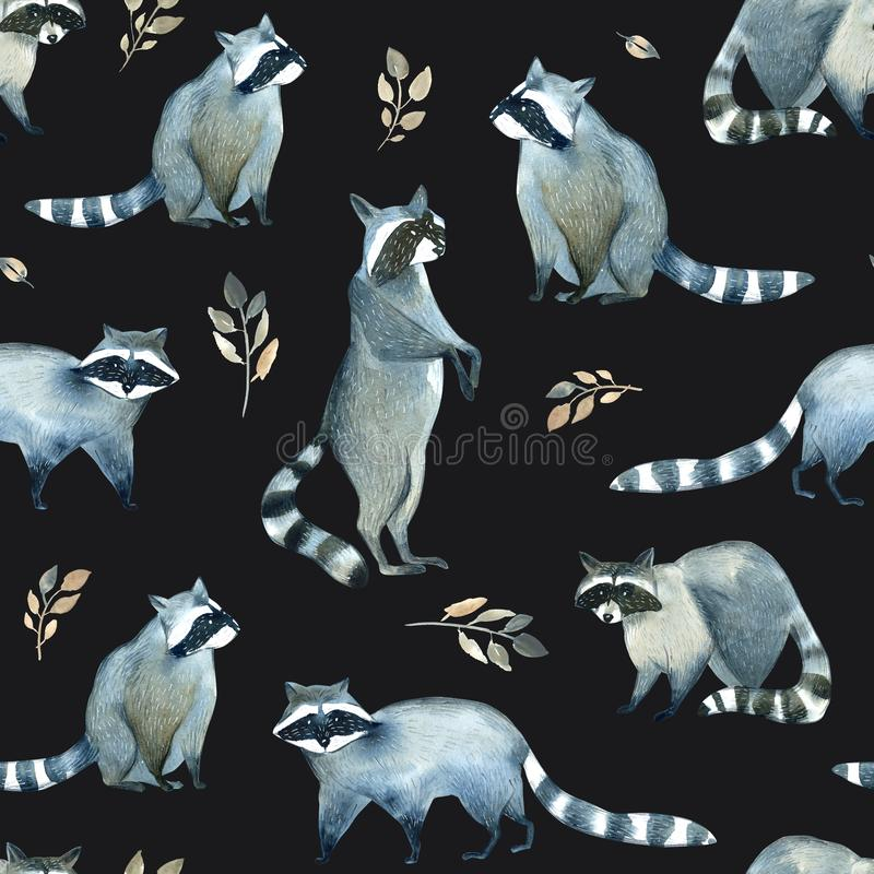 Watercolor realistic forest animal sketch. Seamles pattern about many of raccoons and leaves royalty free illustration