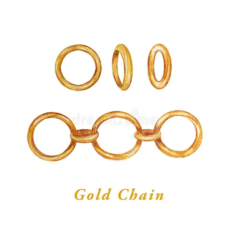 Watercolor realistic Golden Chain Collection - Line, Link and Ring for jewelry making. Isolated on white background royalty free illustration