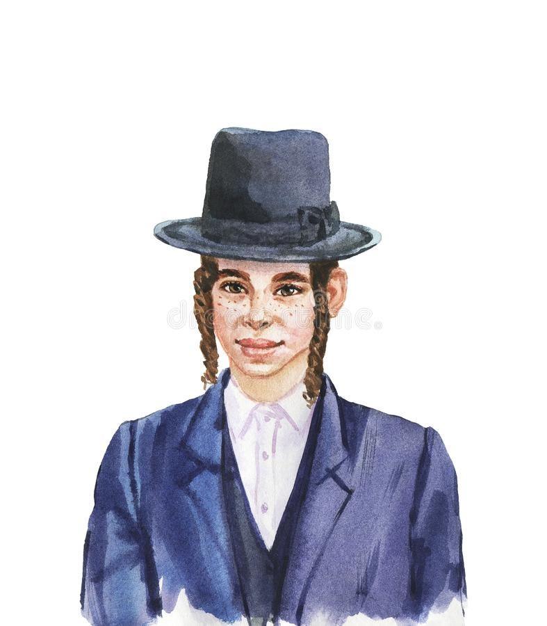 Watercolor realistic male portrait. Hand drawn smiling jewish boy in hat. Watercolor realistic portrait. Painting isolated illustration on white background stock illustration