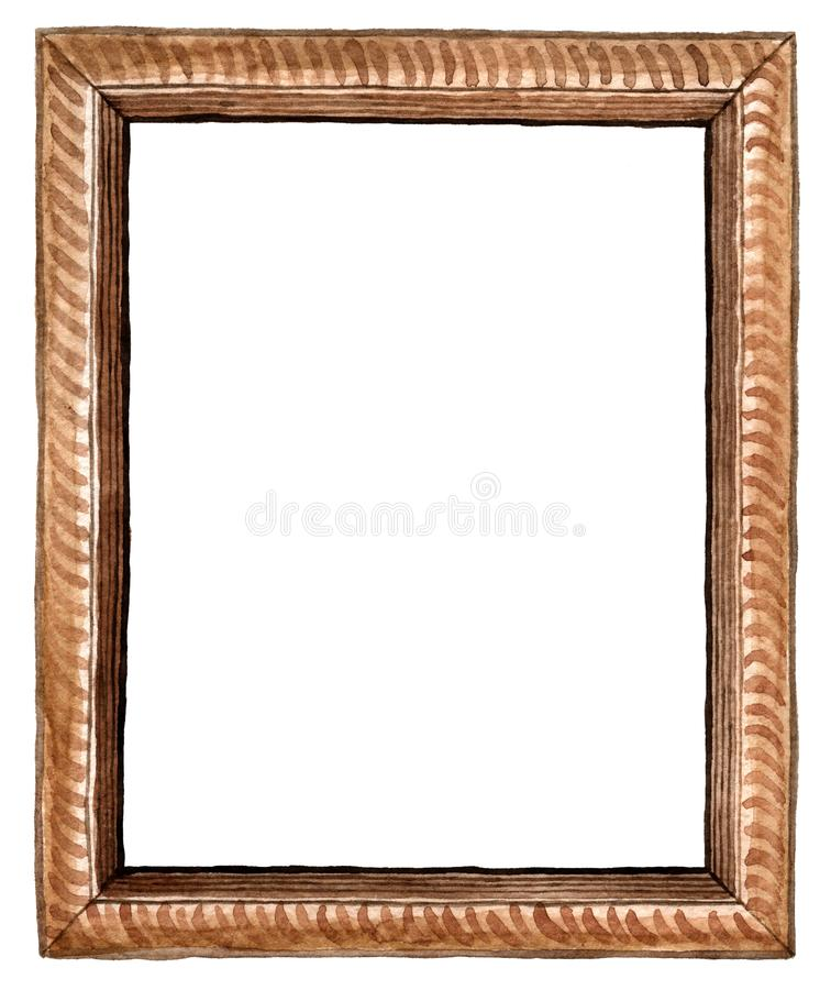 Watercolor rectangular brown wood carved picture frame - hand painted illustration isolated on white background. Watercolor rectangular wood carved picture frame royalty free stock images