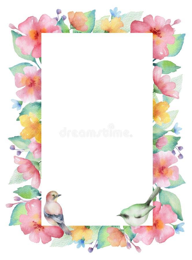 Watercolor rectangular frame. stock illustration