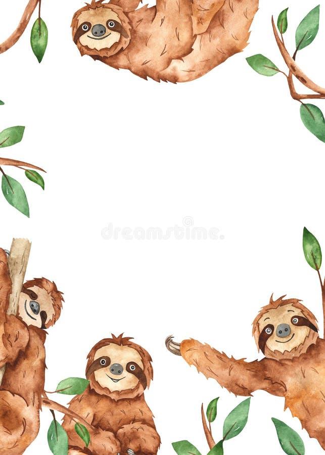 Watercolor rectangular frame with cute animal sloths. Cute cartoon animal sloths. Watercolor hand painted rectangular frame. Kids design stock illustration