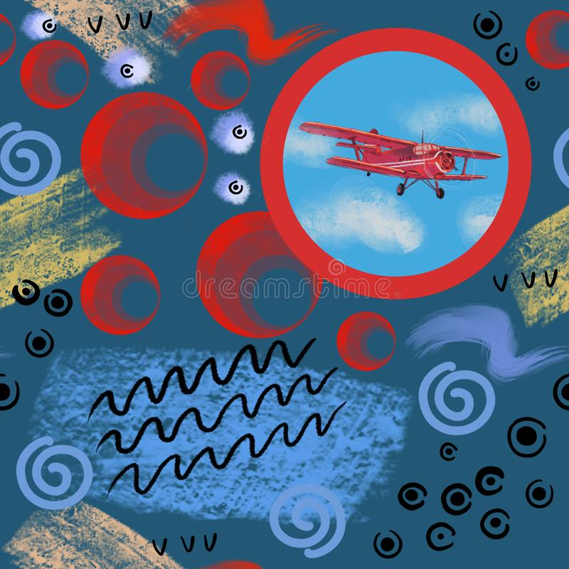 Watercolor red airplane on blue sky illustration with computer processing. view of a flying plane. stock illustration