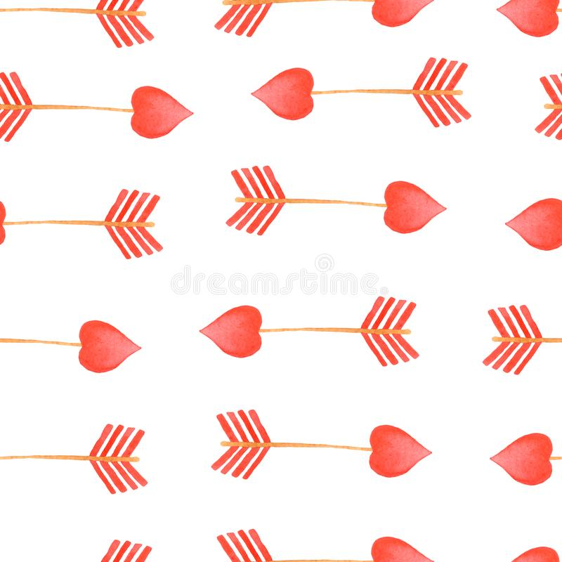 Watercolor red arrow pattern Arrows Valentines Day Elements. With Watercolor Texture vector illustration
