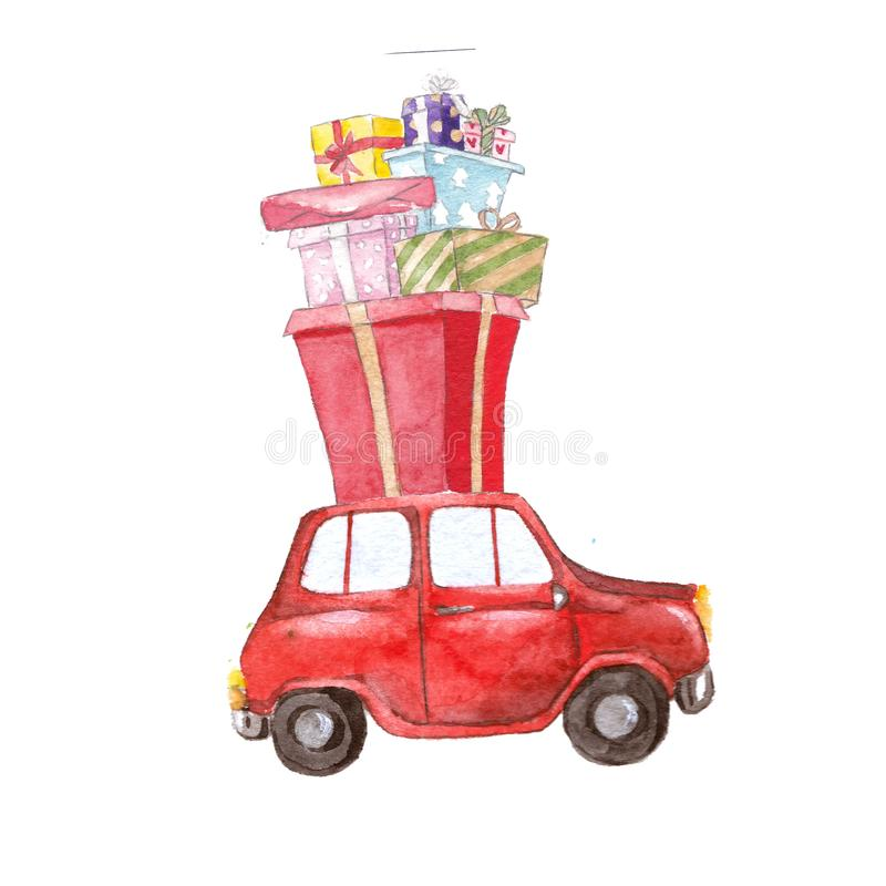 Watercolor red car with christmas presents, christmas decoration. Red car with christmas presents, watercolor christmas presents stock illustration