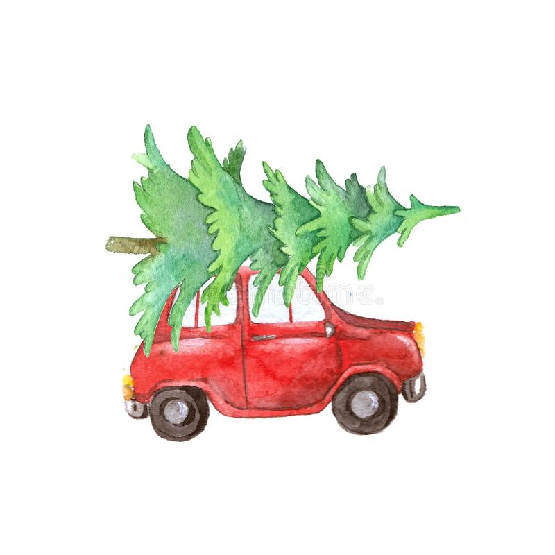 Watercolor red car with christmas tree, christmas decoration. Watercolor red car with tree christmas, christmas decoration, red car with christmas tree royalty free illustration