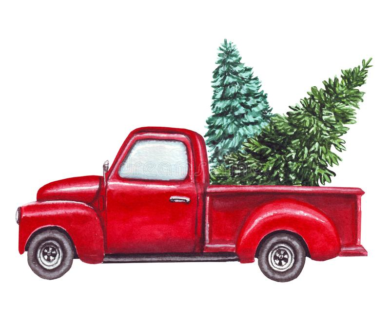 Watercolor red car, truck with green christmas tree isolated on white background stock illustration