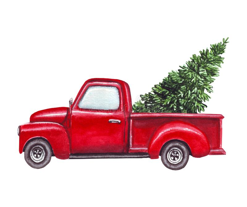 Watercolor red car, truck with green christmas tree isolated on white background royalty free illustration