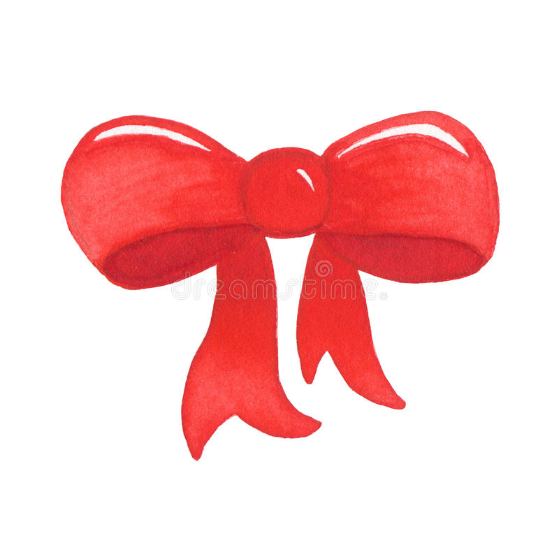 Watercolor red decorative bow on white background royalty free illustration