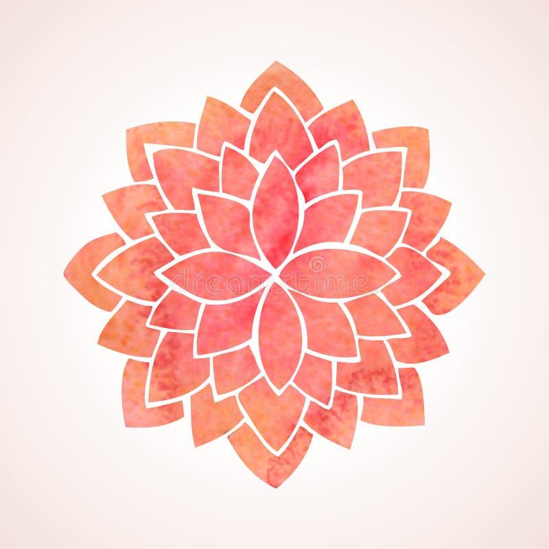 Watercolor red flower pattern. Mandala royalty free stock image