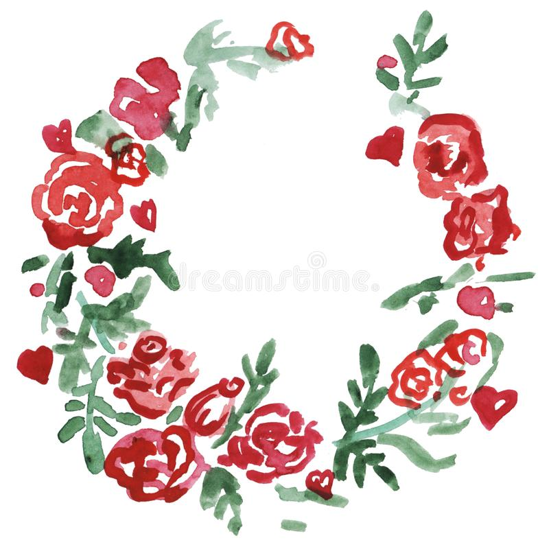 Watercolor red flowers wreath.Floral frame, Illustration hand painted. Isolated on white background. royalty free illustration