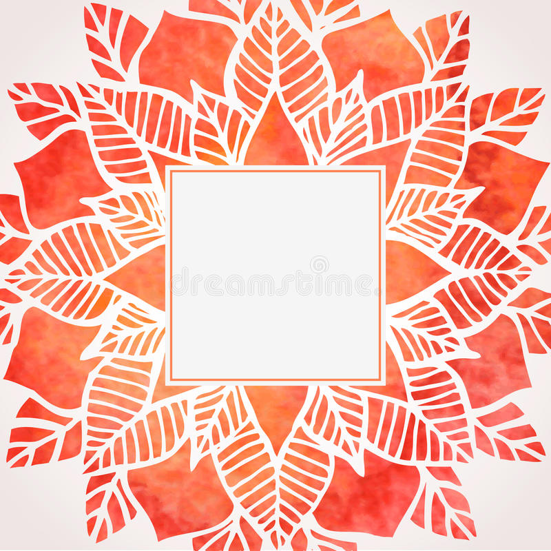Watercolor red frame with floral pattern. Vector element stock illustration