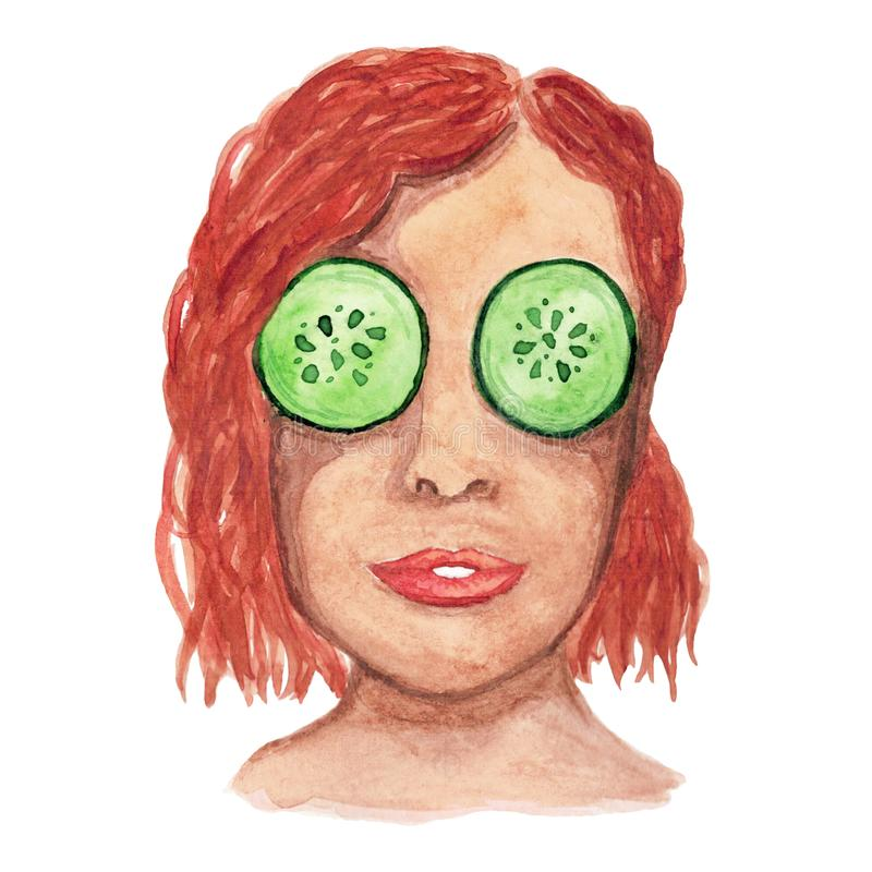 Watercolor red-haired girl with a mask of cucumbers in her eyes vector illustration