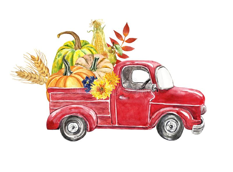 Red Harvest Truck With Pumpkins, Sunflowers, Fallen Autumn ...