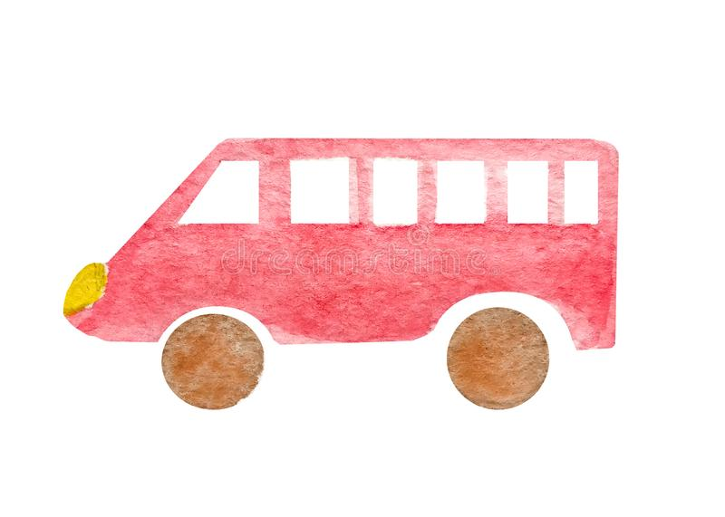 Watercolor red mini bus or taxi isolated on white background. Van passenger truck. Naive art illustration. Watercolor red mini bus or taxi isolated on white stock photo