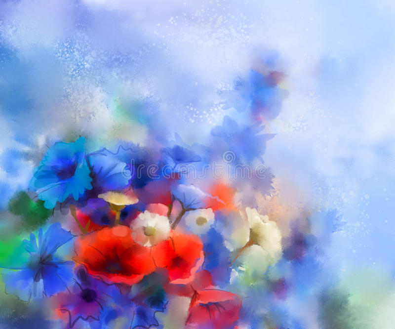 Watercolor red poppy flowers, blue cornflower and white daisy painting royalty free illustration