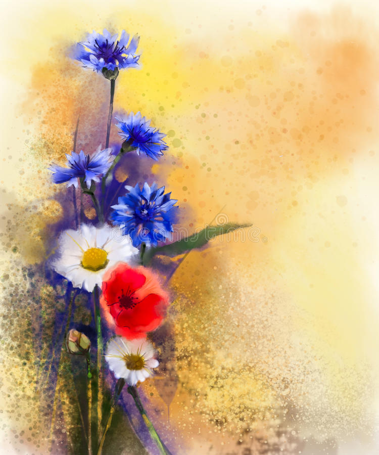 Watercolor red poppy flowers, blue cornflower and white daisy painting stock illustration