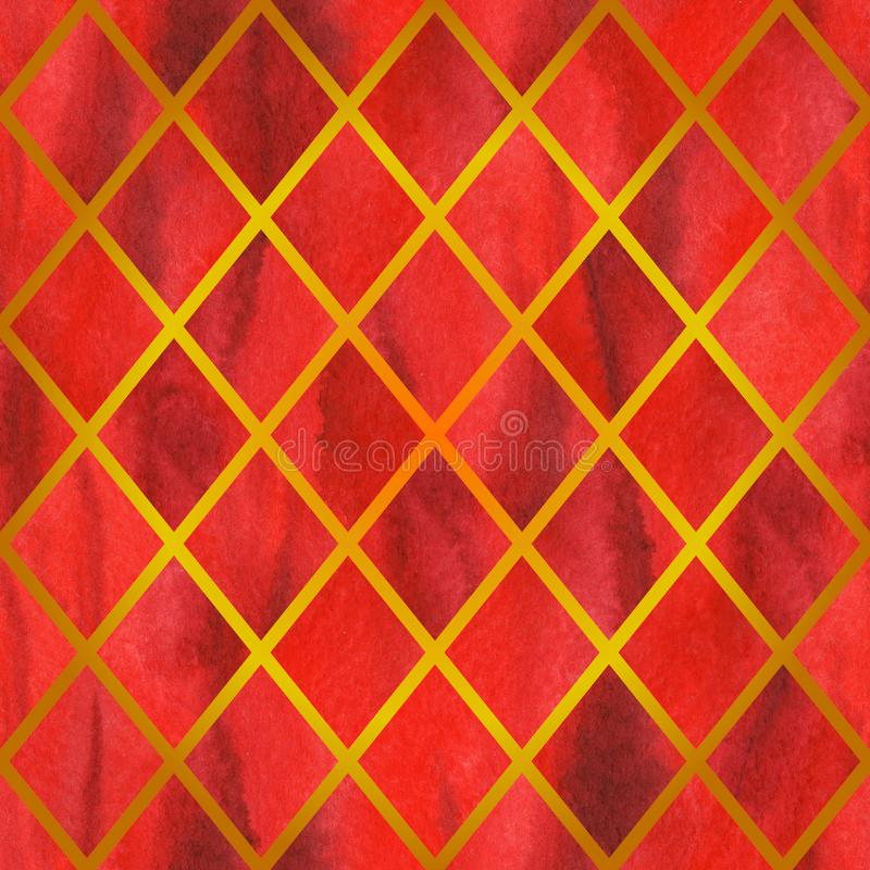Watercolor red ruby rhombus geometric golden line seamless pattern texture background.  stock illustration