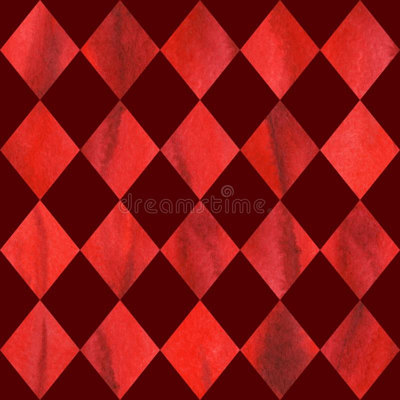 Watercolor red ruby rhombus geometric seamless pattern texture background.  vector illustration