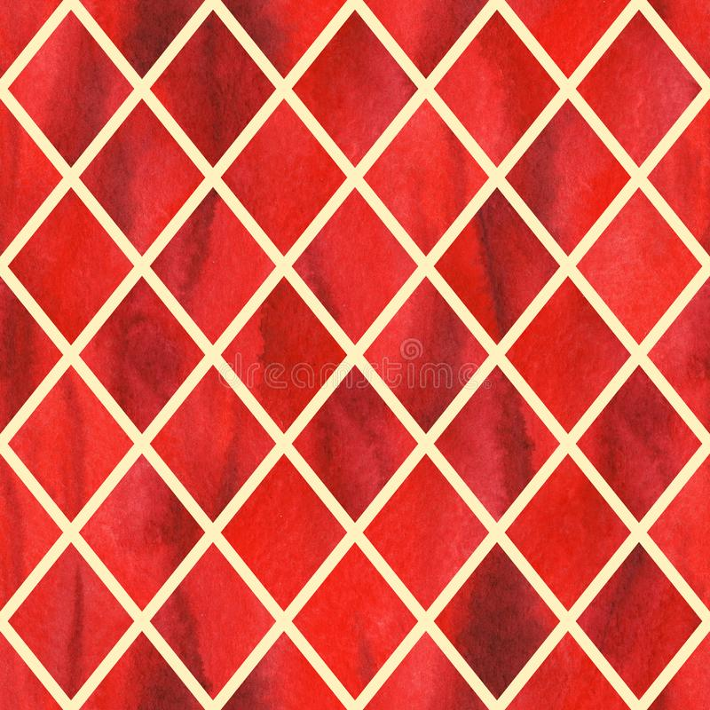 Watercolor red ruby rhombus geometric yellow line seamless pattern texture background.  royalty free illustration