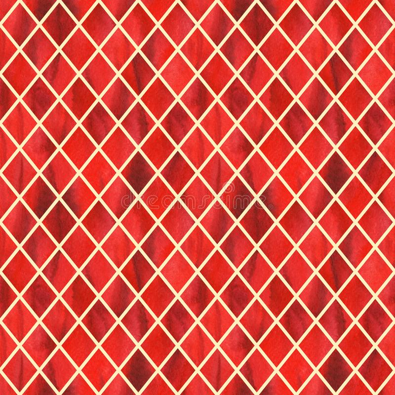 Watercolor red ruby rhombus geometric yellow line seamless pattern texture background.  stock illustration