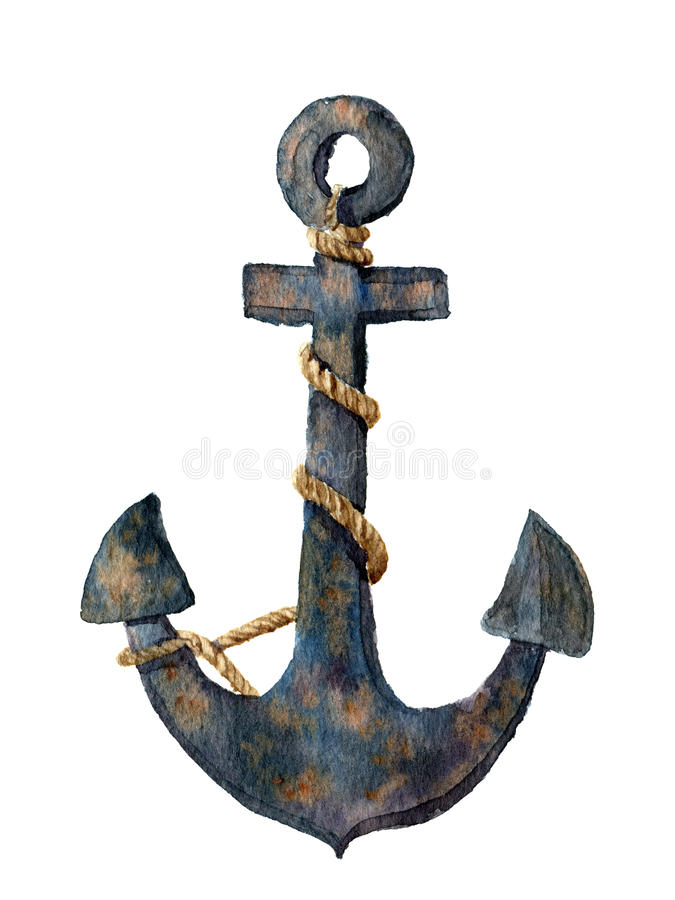 Watercolor retro anchor with rope. Illustration isolated on white background. For design, prints or background royalty free illustration