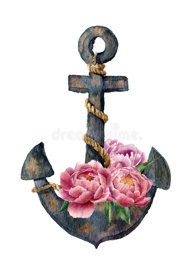 Watercolor retro anchor with rope and peony flowers. Vintage illustration isolated on white background. For design, prints or back stock illustration