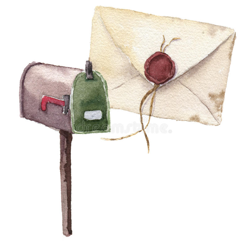 Watercolor retro envelope with sealing wax and postbox. Vintage mail icon isolated on white background. Hand painted design. Watercolor retro envelope with vector illustration