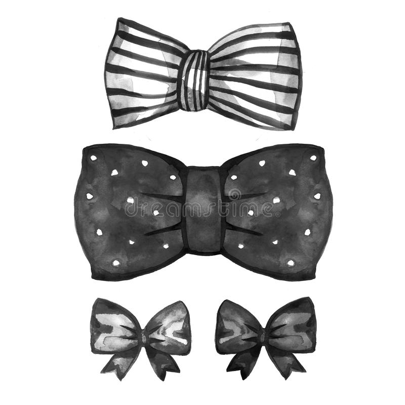 Watercolor retro satin black gift bow collection. Isolated on white royalty free stock photo