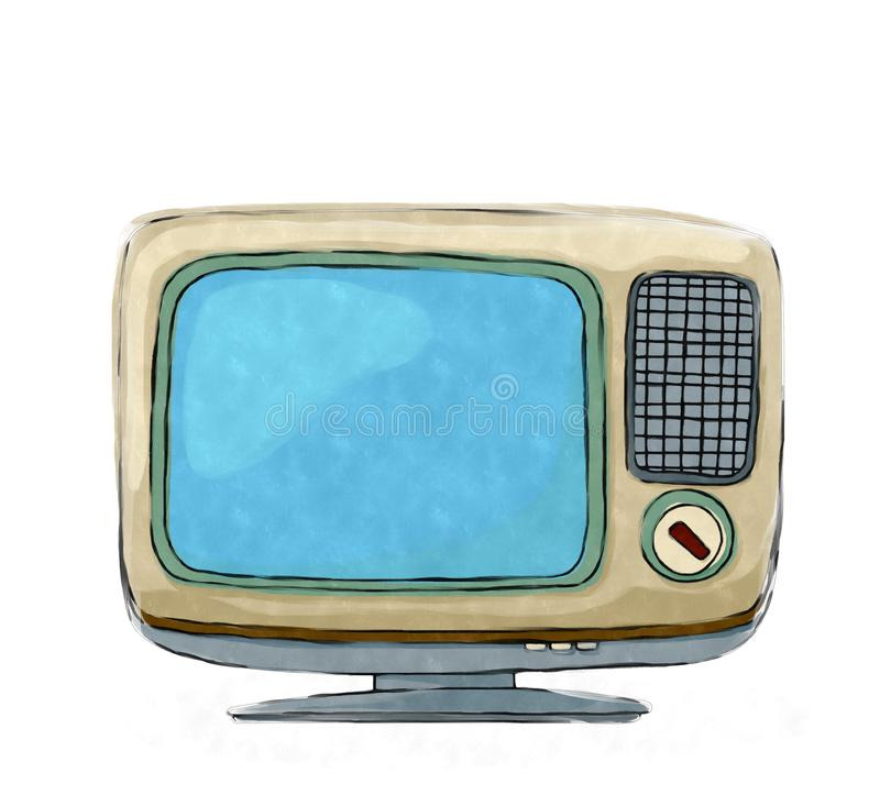 Watercolor retro tv set royalty free illustration