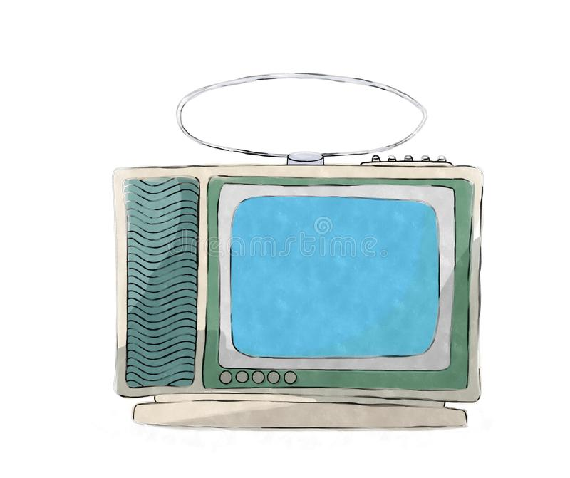 Watercolor retro tv set stock illustration