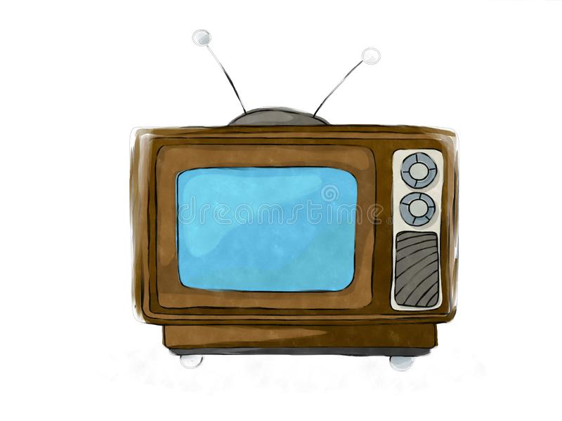Watercolor retro tv set 4 royalty free illustration