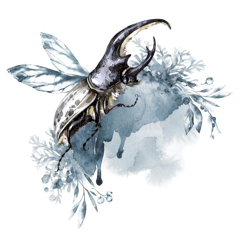 Watercolor rhinoceros beetle with horns on a floral background. Animal, insects. Magic flight. Can be printed on T stock illustration