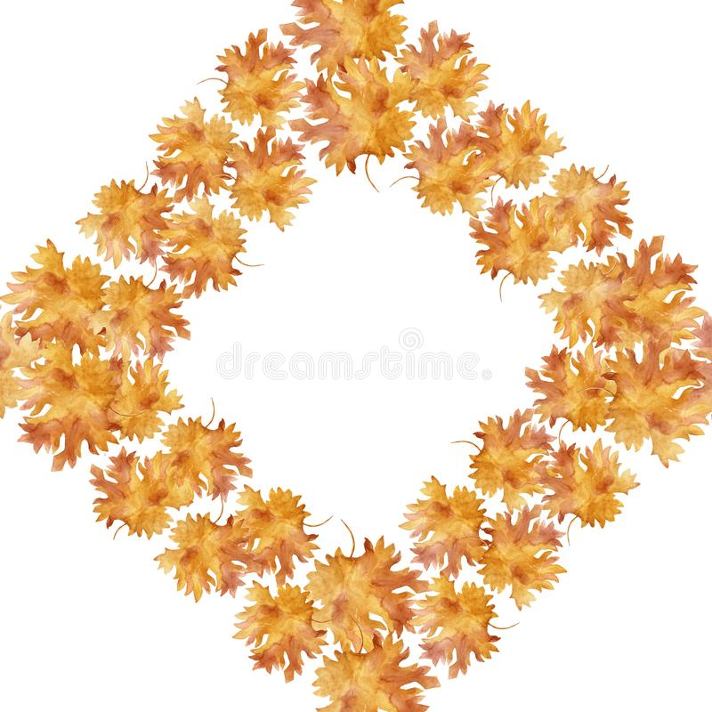 Watercolor rhombus frame colorful autumn maple leaves in a round dance, isolated on a white background, with space for text. Flower pattern for beautiful vector illustration