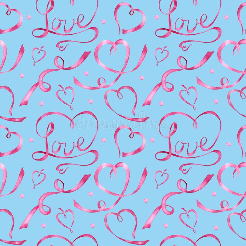 Seamless pattern Watercolor ribbon heart, love letter Greeting card concept. Wedding or Valentine`s Day banner, poster vector illustration