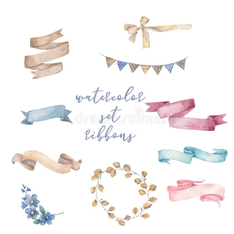 Watercolor ribbons set. Hand drawn stripes or banners for text. Watercolor design elements isolated objects. Beauty royalty free stock photos