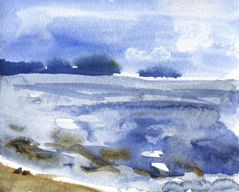 Watercolor river nature landscape on white background. Sketch illustration. royalty free illustration