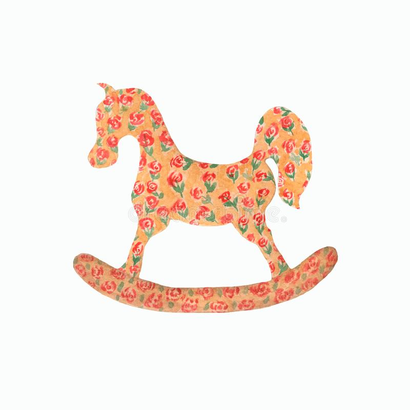 Watercolor rocking horse . children`s illustrations in a watercolor style. Accessories and toys,textile, cards for childrens party vector illustration