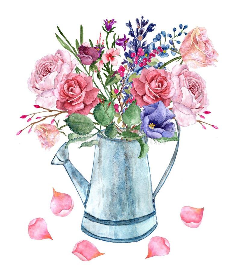 Watercolor romantic bouquet wit roses brunches and petals vector illustration