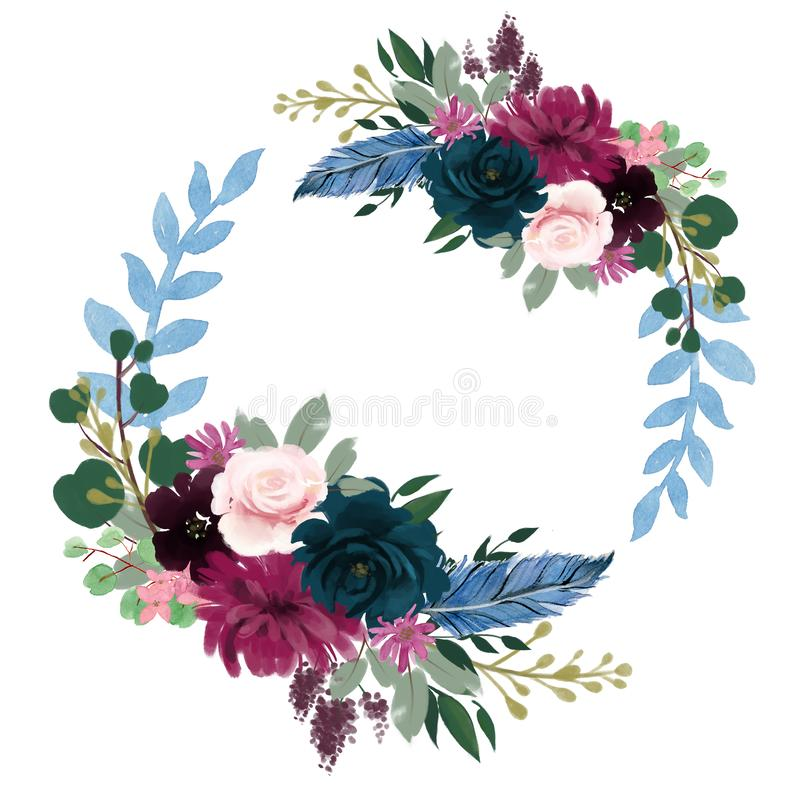 Watercolor Romantic Night floral composition Pink purple red and blue Floral Bouquet Flowers and Feathers card wreath frame border vector illustration