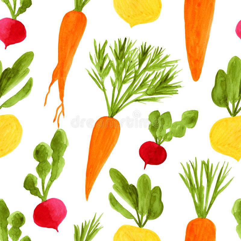 Watercolor root vegetables seamless pattern. Hand drawn ecological diet food background illustration. Yellow turnip vector illustration