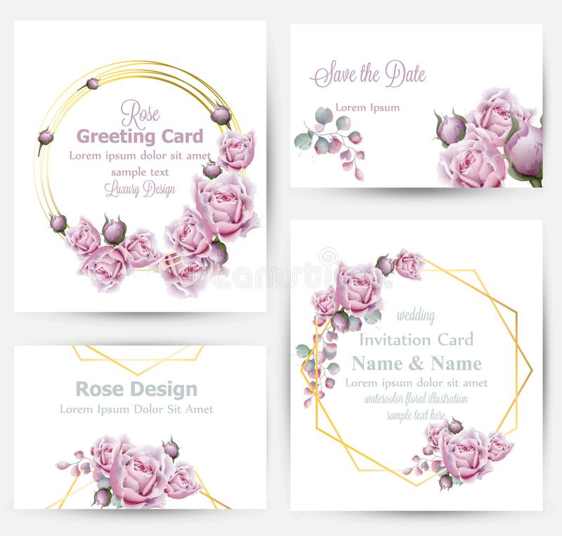 Watercolor rose flowers cards set collection Vector. Vintage greeting or buisiness card, wedding invitation, thank you. Note. Summer floral decor. flower wreath vector illustration