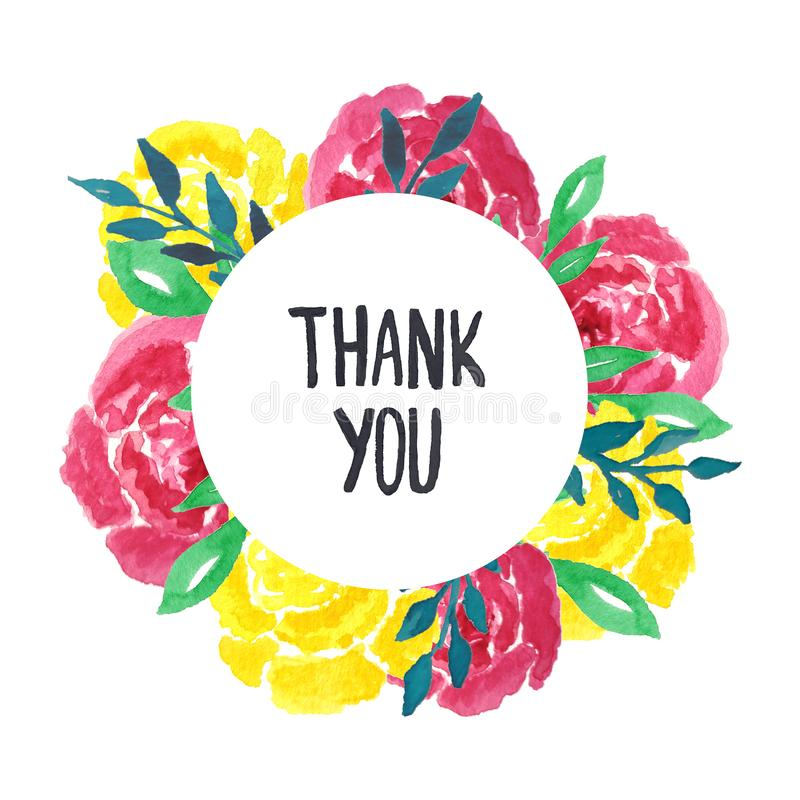 Watercolor roses floral wreath with thank you lettering. stock photography